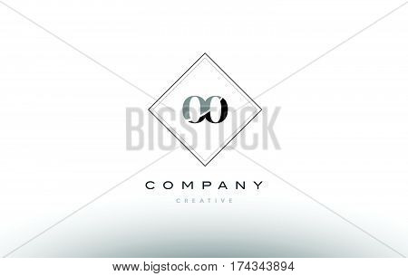 Op O P  Retro Vintage Black White Alphabet Letter Logo