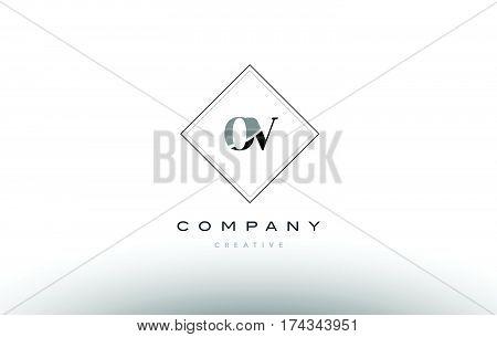 Ov O V  Retro Vintage Black White Alphabet Letter Logo