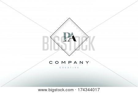 Pa P A  Retro Vintage Black White Alphabet Letter Logo