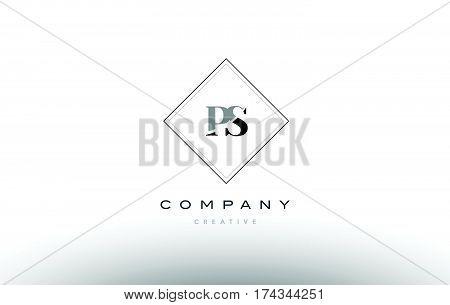 Ps P S  Retro Vintage Black White Alphabet Letter Logo