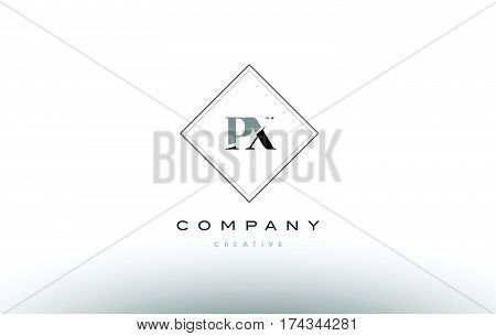 Px P X  Retro Vintage Black White Alphabet Letter Logo