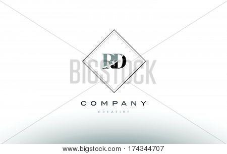 Rd R D  Retro Vintage Black White Alphabet Letter Logo