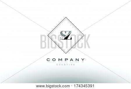 Sz S Z  Retro Vintage Black White Alphabet Letter Logo