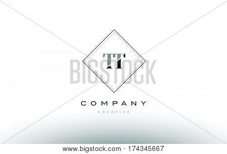 Tt T  Retro Vintage Black White Alphabet Letter Logo