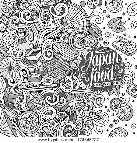 Cartoon hand-drawn doodles Japan food frame. Line art detailed, with lots of objects vector design background