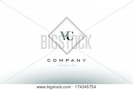 Vc V C  Retro Vintage Black White Alphabet Letter Logo