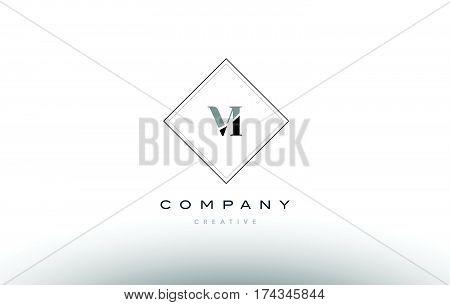 Vi V I  Retro Vintage Black White Alphabet Letter Logo