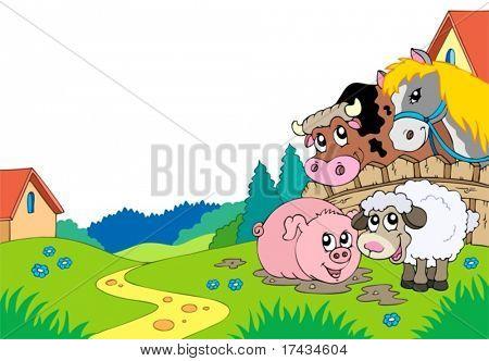 Land landschap met landbouwhuisdieren - vectorillustratie.