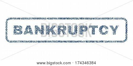 Bankruptcy text textile seal stamp watermark. Blue jeans fabric vectorized texture. Vector caption inside rounded rectangular shape. Rubber sticker with fiber textile structure.