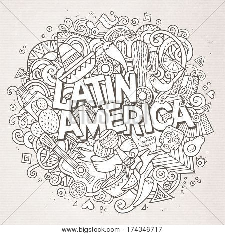 Latin America line art festive background. Cartoon vector hand drawn Doodle illustration. Paper detailed design with objects and symbols. All objects are separated