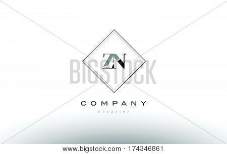 Zn Z N  Retro Vintage Black White Alphabet Letter Logo