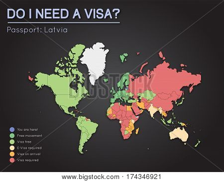 Visas Information For Republic Of Latvia Passport Holders. Year 2017. World Map Infographics Showing