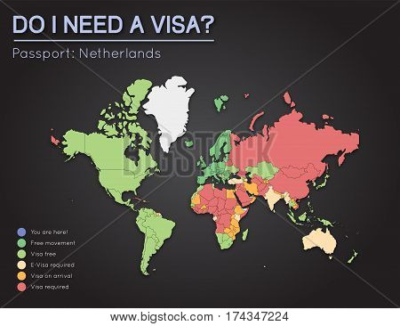 Visas Information For Kingdom Of The Netherlands Passport Holders. Year 2017. World Map Infographics
