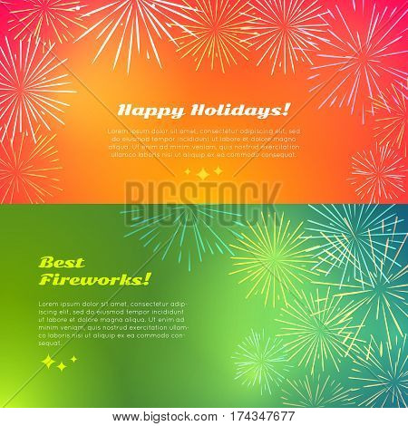 Happy holidays best fireworks salute elements for fireworks festival. Vector illustration banners in flat style set of different kinds of fireworks for birthday celebration on pyrotechnical background