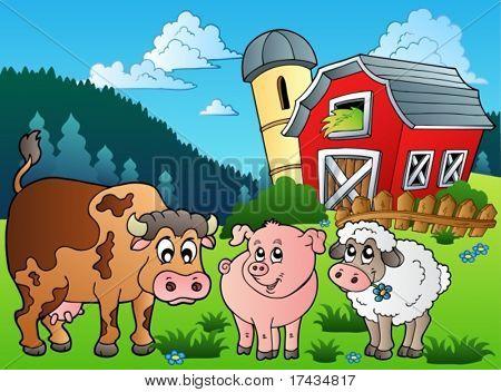 Three farm animals near barn - vector illustration.