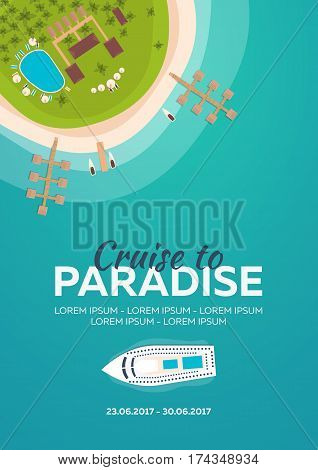 Cruise To Paradise. Tropical Beach. Best Cruise. Vector Flat Banner For Your Business.