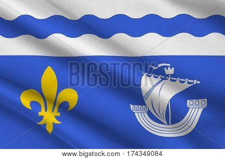 Flag of Hauts-de-Seine is a French department named after the Seine and Marne rivers and located in the Ile-de-France region. 3d illustration