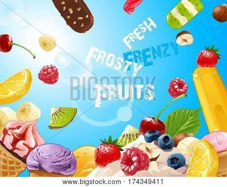background delicious ice cream with strawberries, raspberries, blueberries, banana, kiwi, lemon nuts and chocolate
