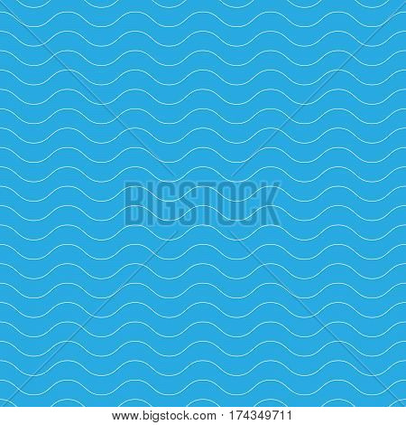 Seamless wavy pattern. White thin lines on blue background. Nautical, naval and water theme. Vector illustration.