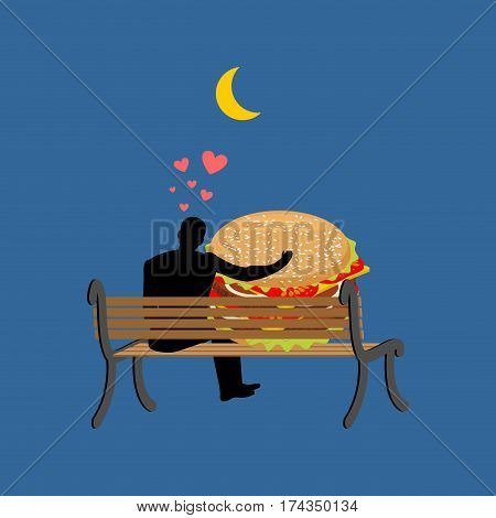 Lover Fast Food. Man And Hamburger Sitting On Bench. Guy And Burger. Romantic Date Fastfood. Glutton