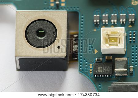 Smartphone camera and its electronic circuits and components.