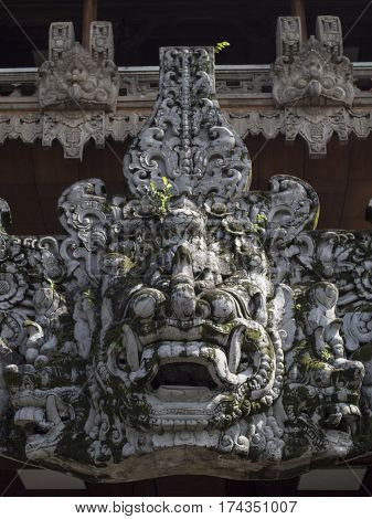Large traditional  fine detailed stone mask sculpture in Indonesia