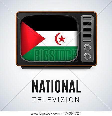 Vintage TV and Flag of Sahrawi Arab Democratic Republic as Symbol National Television. Tele Receiver with flag design