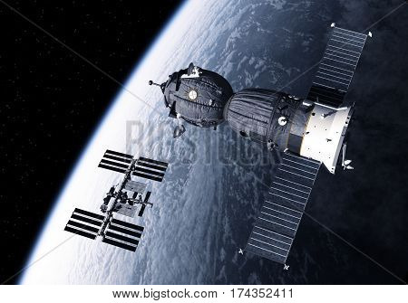 Spacecraft And International Space Station Orbiting Earth. 3D Illustration.