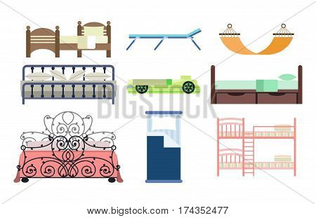 Exclusive sleeping furniture design bedroom with aerial view bed and interior room comfortable home relaxation apartment decor vector illustration. Luxury night bedding sleep hammock.