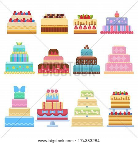 Wedding cake pie sweets dessert bakery flat simple style isolated on white vector illustration.. Fresh tasty dessert sweet pastry pie. Gourmet homemade delicious cream traditional bakery tart.