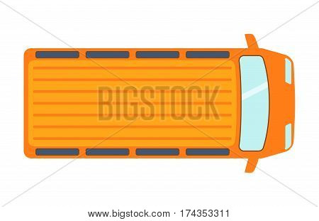 Overhead top view on colorful car toy pickup automobile transport and wheel transportation design traffic roof motor vehicle freight graphic vector illustration. Delivery rail with forklifts.