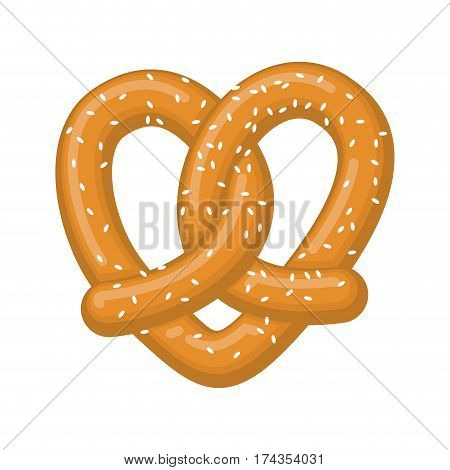 Love Pretzel. Snack Heart. Food Lover Sign. Traditional German Meal