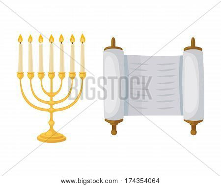 Golden jew menorah with candles hebrew religion tradition decoration flame and candelabrum hanukkah orthodox judaism holiday torah scroll vector illustration. Chanukah shabbat festival gold object.