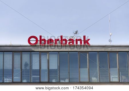 Prague, Czech Republic - March 3: Oberbank From 3-banken-gruppe Company Logo On The Building Of Czec