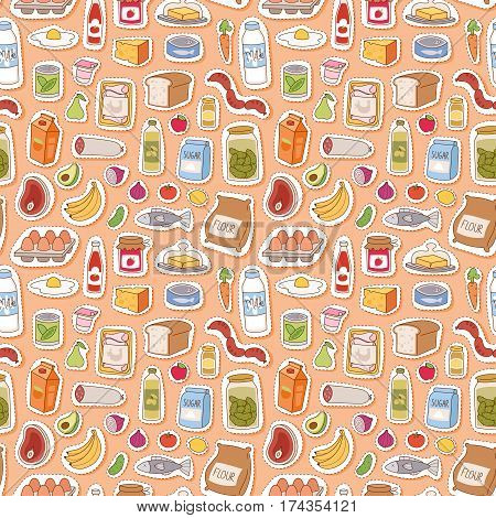 Everyday food icons patchwork. Set of common goods and everyday products we get by shopping in supermarket. Patch food breakfast or dinner eating vector elements seamless pattern