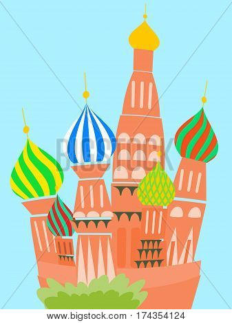 cathedral vasily blessed - colorful vector cartoon illustration