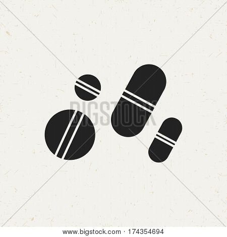 Flat monochrome pills icon in vintage style. Isolated pills icon for use in variety of projects. Black and white vector pills icon for web sites and apps.