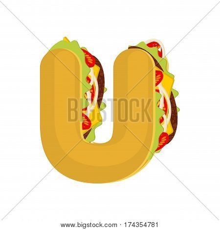 Letter U Tacos. Mexican Fast Food Font. Taco Alphabet Symbol. Mexico Meal Abc
