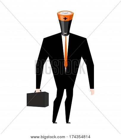 Battery Businessman. Boss Accumulator In Business Suit. Tie And Case