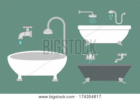 Bathroom icons colored set with process water savings symbols hygiene collection and clean household washing cleaning beauty dryer vector illustration. Flat interior of wash place concept design.