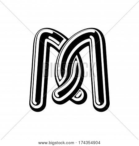 Letter M Celtic Font. Norse Medieval Ornament Abc. Traditional Ancient Manuscripts Alphabet