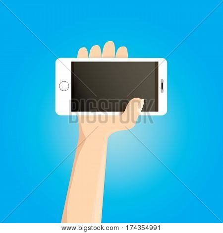 Hand holding white smart phone isolated on blue background. Vector flat style design phone with blank screen and human hand