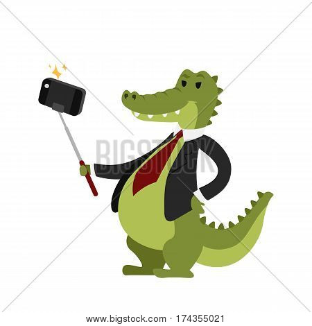 Funny picture crocodile photographer mamal person take selfie stick in his hand and cute animal taking a selfie together with smartphone camera vector illustration. Camera photo pet character.