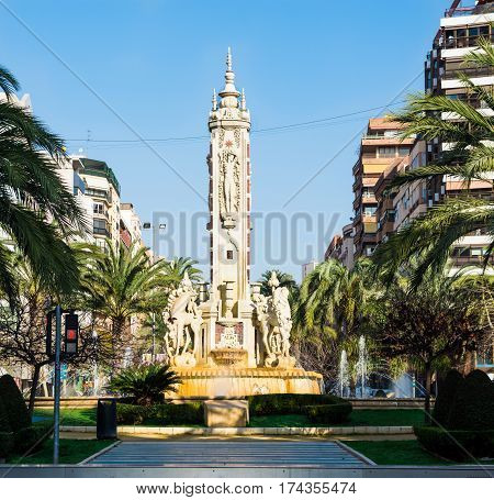 Fuente de Levante monument in Plaza de Luceros square in Alicante tourist attraction panoramic front view spring time 2017