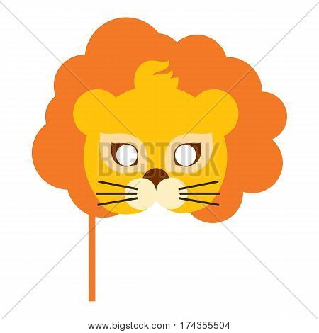 Lion animal carnival mask vector illustration in flat style. Orange king of beast with luxury hair. Funny childish masquerade mask isolated. New Year masque for festivals, holiday dress code for kids