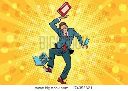 Businessman juggler clerk. Vintage comics cartoons illustration pop art retro vector. Juggling chores, computer, and smartphone