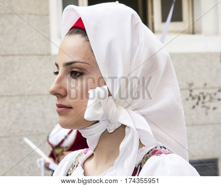 CAGLIARI, ITALY - May 1, 2013: 357 Religious Procession of Sant'Efisio - portrait of a beautiful woman in traditional Sardinian costume - Sardinia