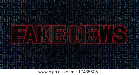 Fake News text on hex code 3d illustration