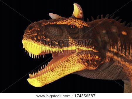 A Flesh Eating Carnotaurus Dinosaur in Yellow and Black Whose Name Means Meat Eating Bull