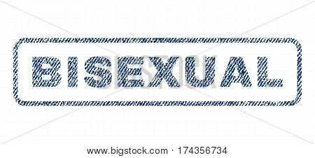 Bisexual text textile seal stamp watermark. Blue jeans fabric vectorized texture. Vector tag inside rounded rectangular banner. Rubber emblem with fiber textile structure.